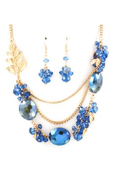 Crystal Lilly Necklace in Graceful Blue
