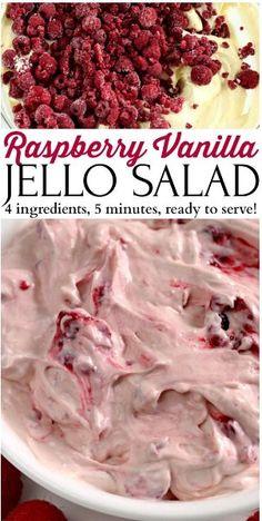 Raspberry vanilla Jello Salad Recipe #saladrecipes #fruit