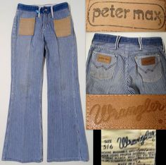 Vintage 1960-70's Wrangler PETER MAX Jeans Bell Bottoms Striped Engineer Blue/White HIPPIE 5/6 RARE  SOLD!