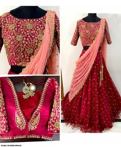 Rimzim enterprise presents this Lehenga, which will make you look striking and even more beautiful this Lehenga is quite comfortable to wear and easy to wear as well. lehenga is in net , choli in banglori silk and net and dupatta is in Georgette. Lehenga Choli Wedding, Indian Bridal Lehenga, Red Lehenga, Party Wear Lehenga, Lehenga Blouse, Plain Lehenga, Anarkali, Half Saree Designs, Blouse Designs