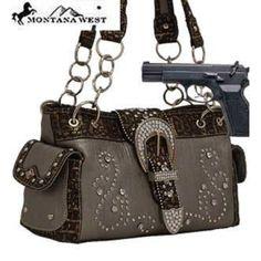Cleto Pewter Western Rhinestone Buckle Conceal and Carry Purse : Conceal and Carry Purses
