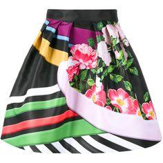 Mary Katrantzou Printed Mini Skirt ($940) ❤ liked on Polyvore featuring skirts, mini skirts, print mini skirt, flared mini skirt, floral print skirt, flare skirt and short flared skirts
