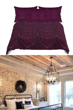 """Down Comforter with ethnic Indian design. Indian Ethnic Home Decor Idea. """"Star Lights"""":A design that celebrates the Holiday Spirit and the festive mood of Christmas, with that distinctive Indian, ethnic touch in design. A two tone V-shaped self print that graphically depicts the the X'mas tree and a string of star-sha"""