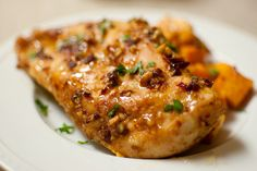 Spiced Chipotle Honey Chicken with Sweet Potatoes-- easy to make and tasty.