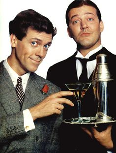 """Hugh Laurie & Stephen Fry """"Jeeves & Wooster""""-- two reasons to love British TV -- hear hear! P G Wodehouse, Jeeves And Wooster, British Comedy, British Humor, British Men, Masterpiece Theater, Hugh Laurie, Comedy Tv, Me Tv"""