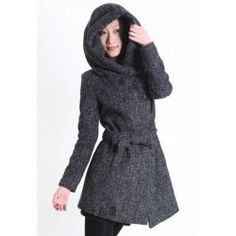 $16.84 Fashionable Hooded Double Breasted Long Sleeves Column Keeping Warm Dacron Coat For Women