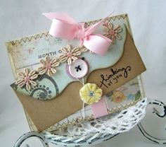 pretty envelope made with lace and handmade paper