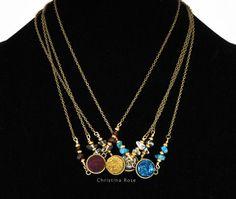 """COLLAR DRUZY TITANIUM, piedras preciosas naturales - elige tu Color Druzy - 24k oro llena de alambre con cadena de bronce 21 """""""