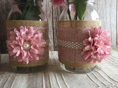 3 antique pink and burlap mason jar vases wedding von PinKyJubb