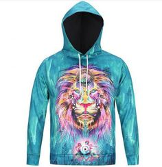 c962567203b6 3D colorful lion hoodie for teens animal face pullover xxxl Mens Sweatshirts