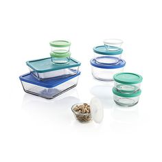 All-purpose glass storage set, compatible with oven, microwave, freezer and dishwasher bakes, heats and keeps foods of all kinds with convenient, colorful storage-microwave lids. Versatile storage dishes cover every size capacity for cooking, serving, mess-free reheating and saving leftovers.