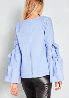 Rita Blue Bell Sleeve Arm Tie Top Missy Empire