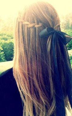 waterfall braid with bow. I seriously need to learn how to do this.