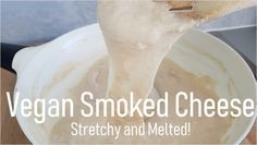 This melted vegan smoked cheese has a lovely smokey flavor and is great on pizza, in lasagna and in toasties. So easy to make - you won't believe it's vegan! Vegan Cheese Recipes, Vegan Sauces, Delicious Vegan Recipes, Vegan Foods, Vegetarian Entrees, Vegan Vegetarian, Healthy Food Choices, Healthy Meals, Healthy Recipes