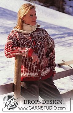 DROPS jakke i Karisma med nordisk mønster + genser og skjerf ~ DROPS Design