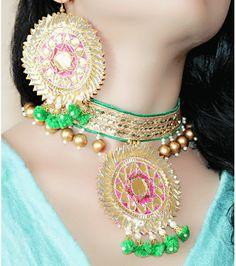 Buy The Peacock Studio Gotta Patti Flower Green Pink Choker Jewellery Set With Jardosi Earrings, easy online shopping