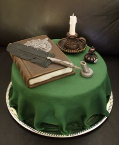 Table and book cake with antique quill, ink pot and candlestick. Made with Marzipan. Birthday Greetings Images, Marzipan Cake, Novelty Cakes, Quill, Amazing Cakes, Ink, Antique, Party, Table