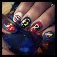 Very cool nails....but I cant get over the marvel/DC mixture.....driving me a little nutty :D