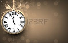 2016 New year golden background with vintage clock. Vector illustration with place for text. Nov, Golden Background, Clock, Stock Photos, Creative, Illustration, Inspiration, Image, New Years Eve