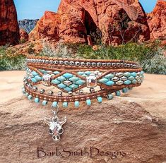 Desert Spirit Take in a little Southwest spirit! This 3-wrap bracelet was designed with a center row of Picasso Blue Super Duo glass beads hand-stitched in a diamond pattern, accented with hammered rhodium spacer beads. It is surrounded on either side with a tambourine-style macrame