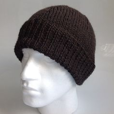 Mens Dark Moss Green 100% Wool Aran Beanie Hat   Hand by sewmoira