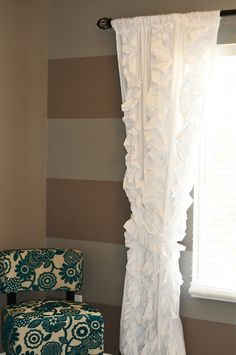 "Beautiful diy ruffled curtains, totally going to do this for the nursery. DIY Til We Die: Anthropologie ""knock off"" curtains from bed sheets!"