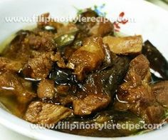 Adobong talong at baboy or pork and eggplant adobo is another variety of Filipino adobo. The procedures is simple, we fried eggplant until brown and marinate pork then cooked and simmered soy sauce, vinegar, garlic, bay leaves, peppercorns, salt and sugar until tender.