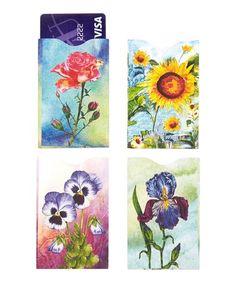 Look at this #zulilyfind! Flowers Armored RFID Credit Card Sleeve Set #zulilyfinds