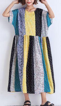 5cedc48d7b Bohemian patchwork linen cotton Wardrobes boutique Runway multicolor striped  Robe Dress Summer