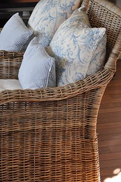 c❤༺ Lovely Cottage style ~ blue, white & wicker! Exactly what I'm setting up at the moment with Toile fabrics ❤༺ Cottage Living, Coastal Living, Cottage Style, Country Living, Living Room, Wicker Chairs, Wicker Furniture, Outdoor Furniture, Cottages By The Sea