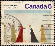 Canada.  Christmas paintings.  Nativity, by Jean Paul Lemieux.  Scott 650 A319, Issued 1974 Nov. 1,  Litho.,  Perf. 13 1/2, 6. /ldb.