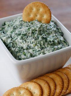 Creamy Parmesan Spinach Dip | Skinnytaste - greek yogurt instead of sour cream