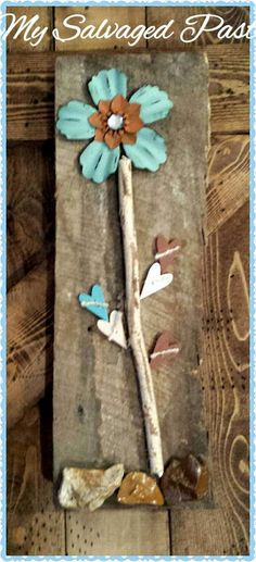 Lt Blue Metal FLOWER Art On Reclaimed Barn Wood by MySalvagedPast