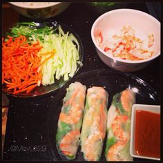 Homemade shrimp summer rolls #pescatarian
