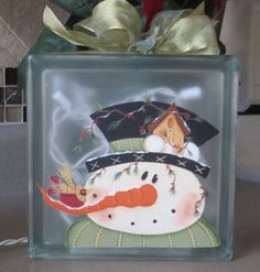 Old St Nick Glass Cube with Twinkle Lights  by WyliesWhimsicals, $30.00