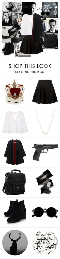"""""""⓸┆Fandom┆Jim Moriarty♕"""" by fandom-666 ❤ liked on Polyvore featuring Reichenbach, Vittorio Ceccoli, Yves Saint Laurent, Kenzo, Marni, Kendra Scott, Burberry, Smith & Wesson, Gerbe and Topshop"""
