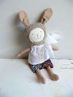 Stuffed Bunny Toy, Dress up Doll - MIRJAM by MiniwerkaToys on Etsy  #clothdoll #bunnydoll #miniwerka #keepsakedoll #dollmakers
