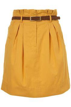 Yellow belted paperbag waist skirt, TopShop, $70