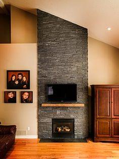 Stone Veneer Fireplace Design elena calabrese design & decor | dark colored natural stone veneer