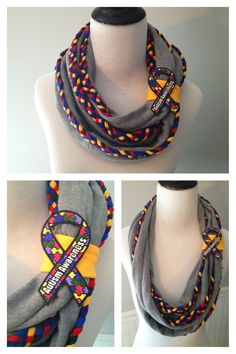 Autism Awareness Infinity Scarf  Repurposed Sweat Shrit &  braided T Shrit by embelLUSHme