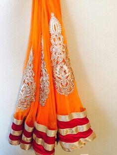 Orange lehenga with broad border ready to ship.  Price : Rs. 5500.00 Contact : 9975616238