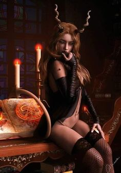 Fantasy Women, Dark Fantasy Art, Dark Art, Dark Gothic, Gothic Art, Hot Tattoos, Girl Tattoos, Satan, Hot Tattoo Girls