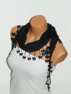 Personalized Design black Scarf Turkish Chiffon by WomanStyleStore, $14.00