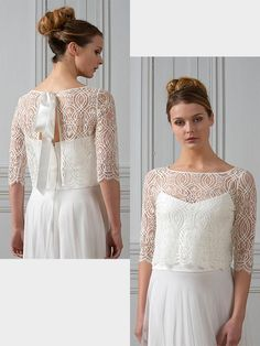 Bolero aus Spitze. Lace Wedding, Wedding Dresses, Tops, Outfits, Fashion, Dress Sewing, Communion, Wedding Dress Lace, Gown Wedding