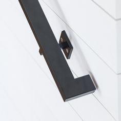 3 Foot Modern Handrail (2 Linear Brackets) Black Satin Powder Coat Finish