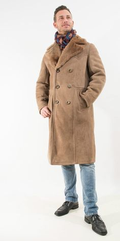 19f4bacfac9 Tan Suede Soft Lamb Leather Double Breasted by NewEnglandStyle Trench Coat  Men