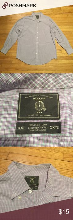 Maker purple mens l/s plaid button up shirt - XXL Maker purple mens l/s plaid button up shirt - XXL. Armpit to armpit - 27 inches. Length - 34 inches. Excellent condition. Maker Shirts Dress Shirts