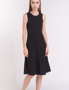 Cashmere - Modern Knits Flare Dress in Black