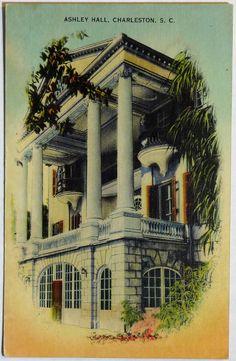 Spring Sale! Charleston S.C. Ashley Hall Vintage Linen Postcard c1940s, South Carolina Private Girls School, #etsyvintageteam, OakwoodView, $5.00