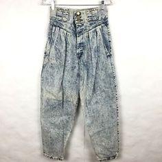 "Vintage 80's Jeans Acid Wash High Waist Pleated Tapered Baggy 26"" Waist Size 6/8  | eBay"